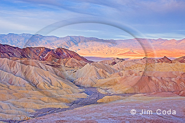 Photo of Zabriskie Point at sunrise.