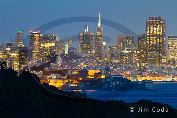 Photo of San Francisco skyline at night.